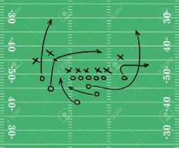4104088-Sketch-of-a-football-play-over-a-football-field-graphic-Stock-Photo